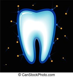 Tooth Protection. Vector illustration on black background