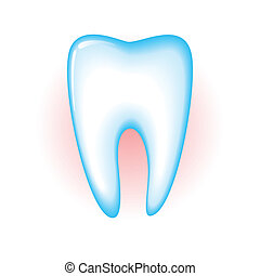 Tooth - Sick tooth isolated on a white background. Vector...