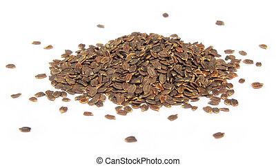 Medicinal lamiaceae seeds over white background