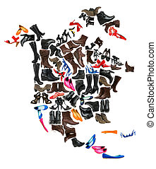 North America continent made of female shoes