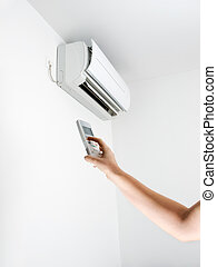 Air conditioner - Arm, remote control and air conditioning.