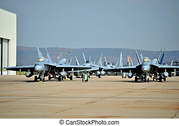 F/A-18 Hornets - USMC F/A-18 Hornets parked outside a...