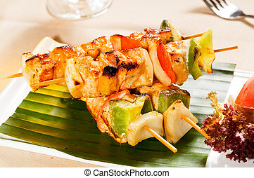 chicken and vegetables skewers - fresh chicken and...