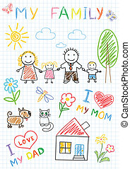 Vector sketchs - happy family. Sketch on notebook page