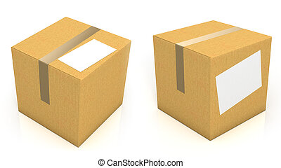 Carton box with blank paper for text isolated on white...