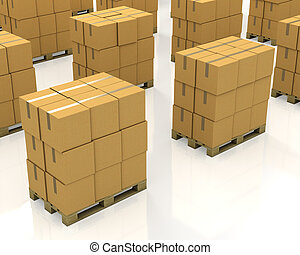 A lot of stacks of carton boxes on a pallets isolated on...