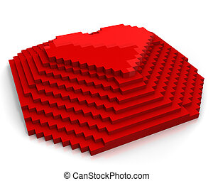 Pyramid with heart on top made of red cubic pixels isolated on white background,diagonal view