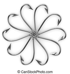 Abstract flower made from fishing hooks isolated on white...