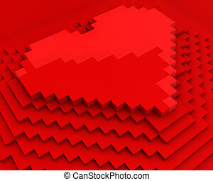 Pyramid with heart on top made of red cubic pixels isolated on white background,diagonal closeup