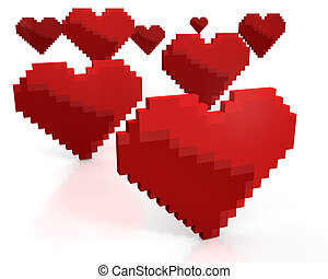 Few red hearts made of cubic pixels