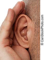 Human listening - Adult human person hand listening deaf ear...