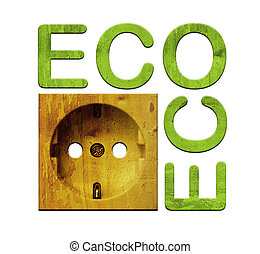 Isolated socket, wooden eco texture