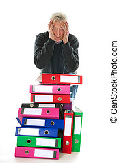 Doing paper administration - Elderly man in panic while...