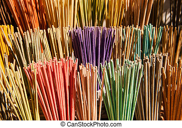 Colorful incense - many scented colorful incense sticks in...