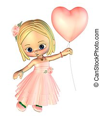Toon Girl with Pink Heart Balloon