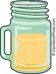 Glass mug or jar full of liquid such as beer or juice clip...