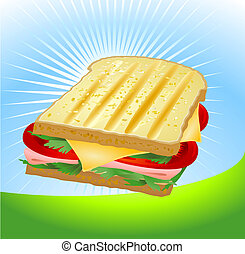 A ham and cheese sandwich