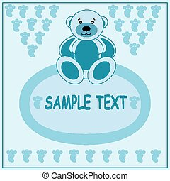 Light blue greeting card with bear