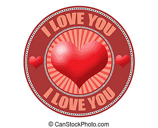 I love you label, vector illustration