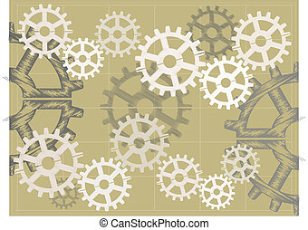 Blue print sketch style Brown gears - Multiple gears sketchy...