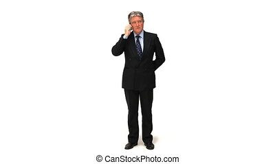 A businessman making a phone call against a white background