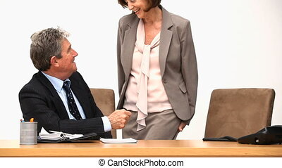 Man and woman having a business meeting