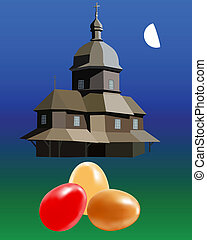 colorful Easter eggs on the background of the church