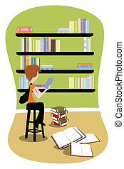 Student in library - A vector illustration of a student...