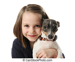 Girl and her dog - Portrait of a beautiful young girl...