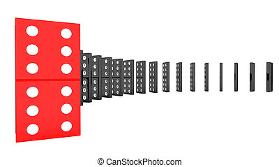 lined up dominoes - lined up 3d dominoes isolated on white