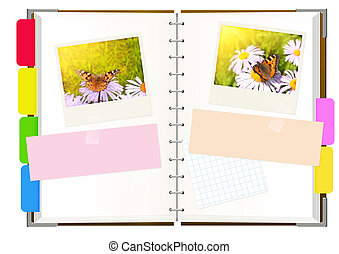 Notebook with photos