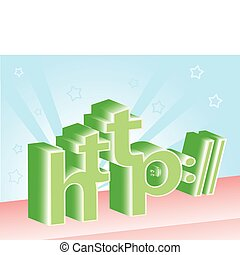 http - 3D http letters on star shining background. Vector...