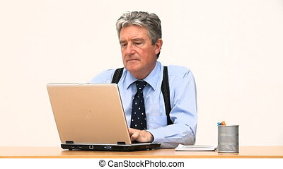 Senior businessman working on a computer
