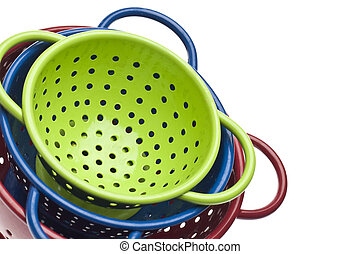Colander Border Background - Vibrant Green, Blue and Red...