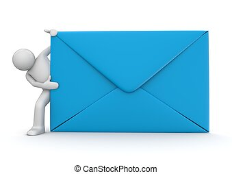 E-mail and character - Blue envelope. Isolated. One of a...