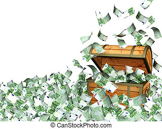 Money - Wooden box with money. Isolated over white
