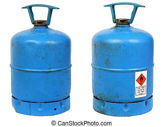 Dirty old butane cylinders - Dirty old butane gas cylinders,...