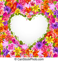 Valentine`s day illustration - heart of beautiful flowers...
