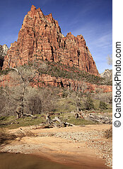 Red Rock Court of Patriarchs Virgin River Zion Canyon...
