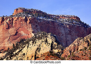 Red Rock Canyon Snow West Temple Zion National Park Utah -...