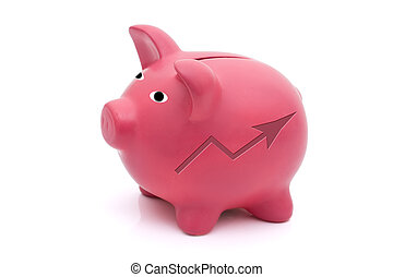 Making Money - A pink piggy bank with an increase symbol on...