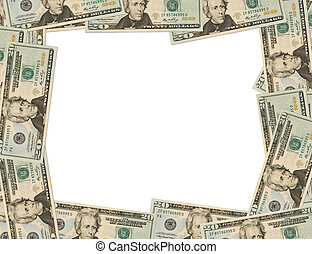 Money Border - Twenty dollar bills making a border on a...