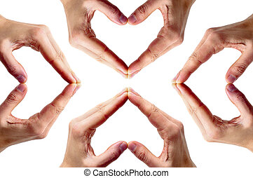 hearts - man hands forming hearts on a white background