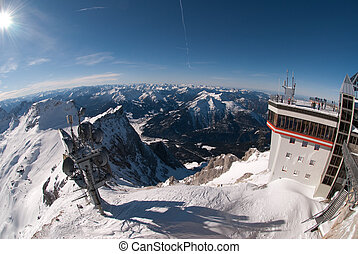 Weather Station in the Zugspitze, Germany - Winter landscape...