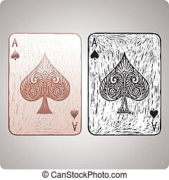 Ace of spades card in engrave style. Color and black version...