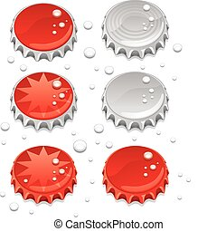 Bottle caps - Six bottle caps with some graphics and water...