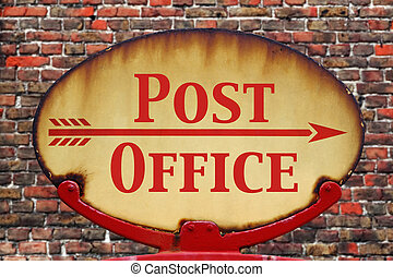 Retro sign Post office - A rusty old retro arrow sign with...