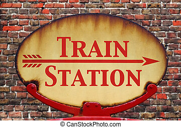 Retro sign Train station - A rusty old retro arrow sign with...