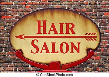 retro, signe, cheveux, salon