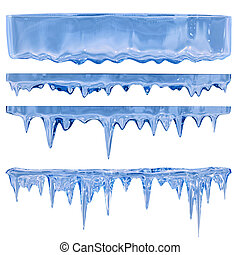 blue icicles - Thawing icicles of a blue shade with water...